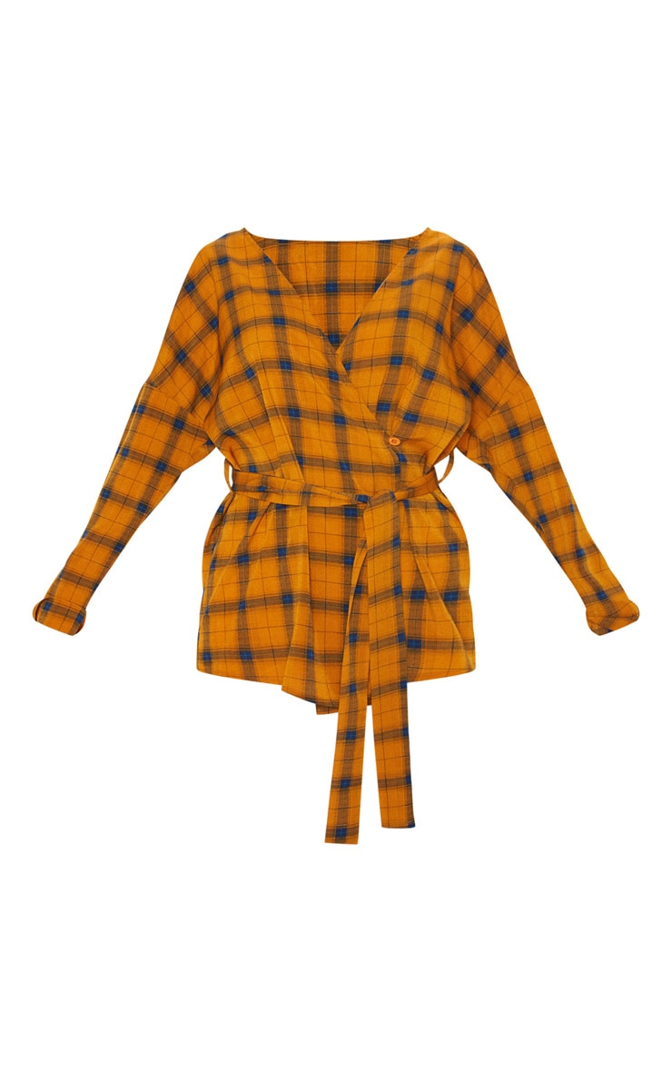 Mustard Check Plunge Belt Detail Oversized Shirt 3