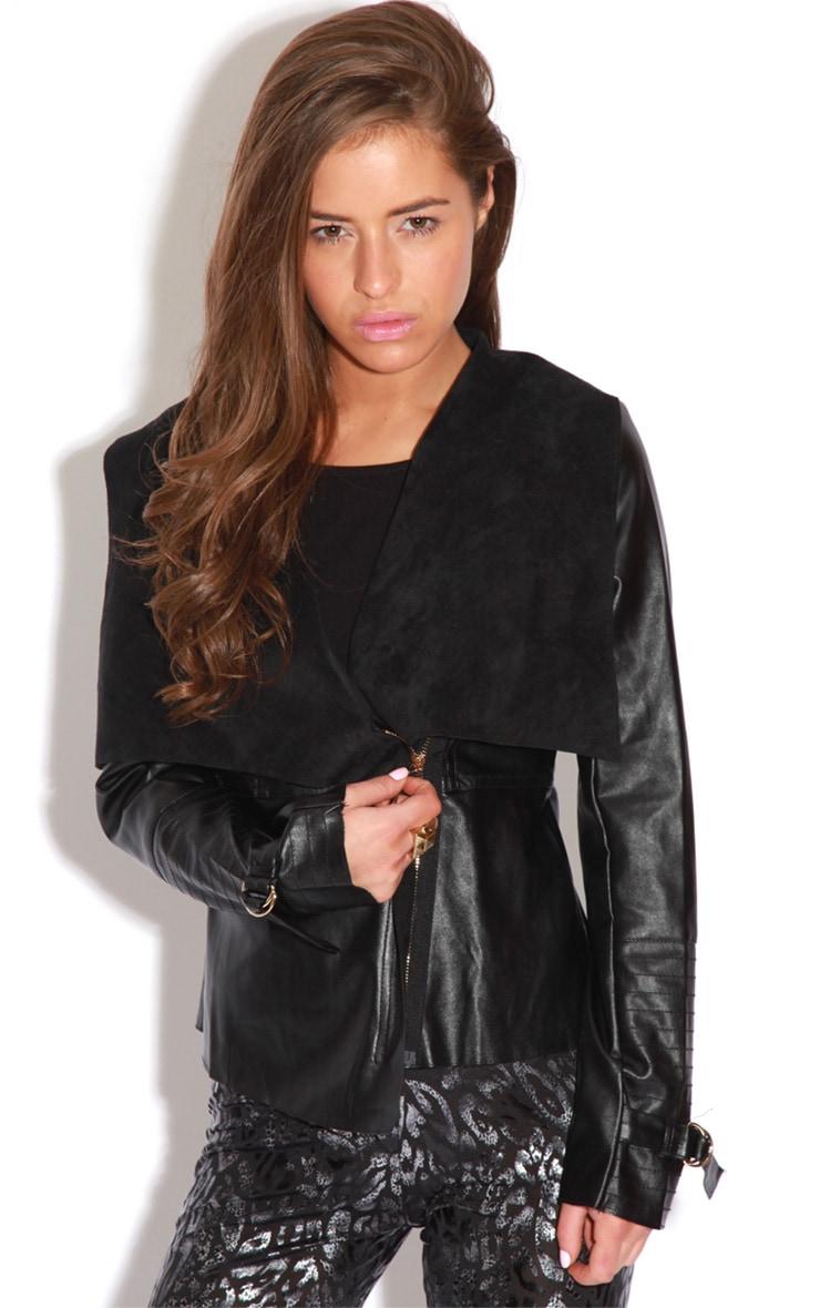 Demi Black PU Waterfall Jacket 6