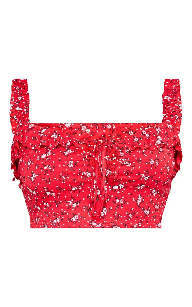 PLT Plus - Crop top rouge floral à laçage 3