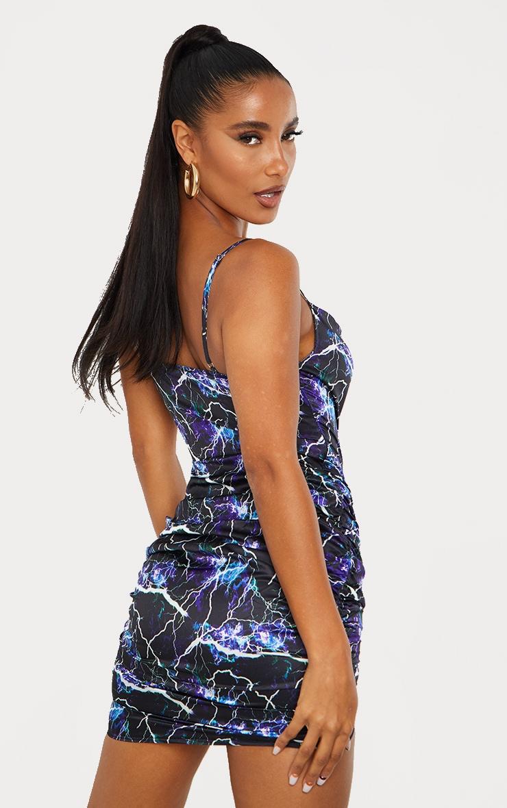 Blue Lightning Satin Ruched Skirt Cowl Neck Bodycon Dress 2