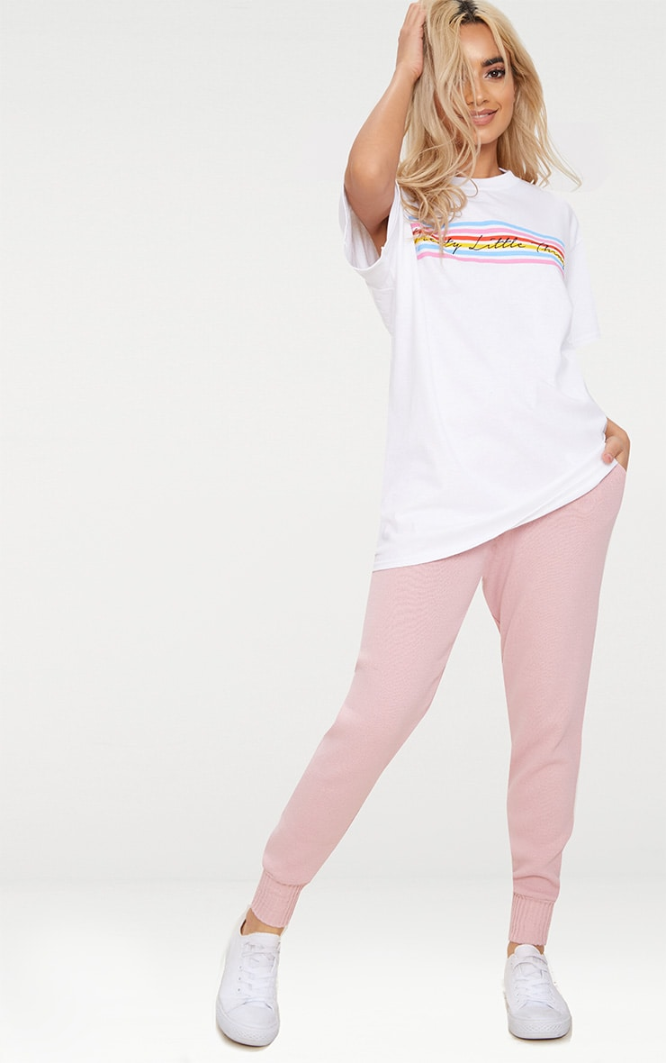 PRETTYLITTLETHING White Rainbow Oversized T Shirt 3