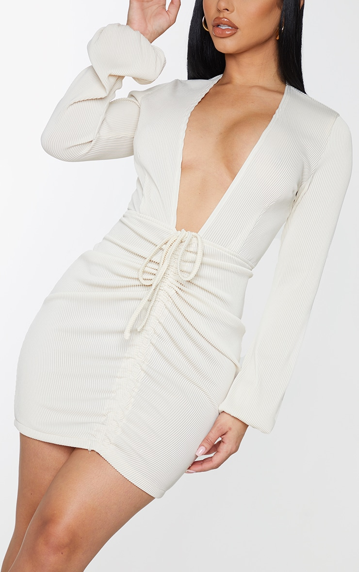 Shape Cream Rib Plunge Ruched Detail Bodycon Dress 4