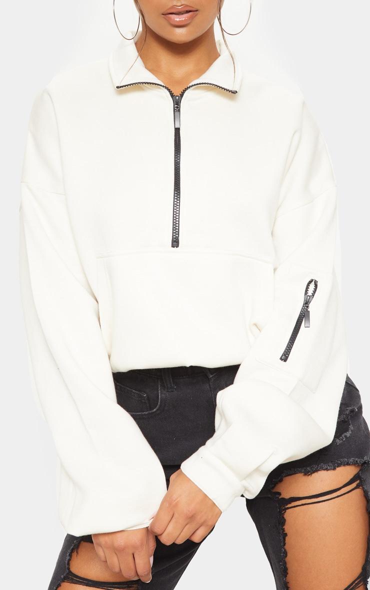 Ecru Oversized Zip Front Sweater 5