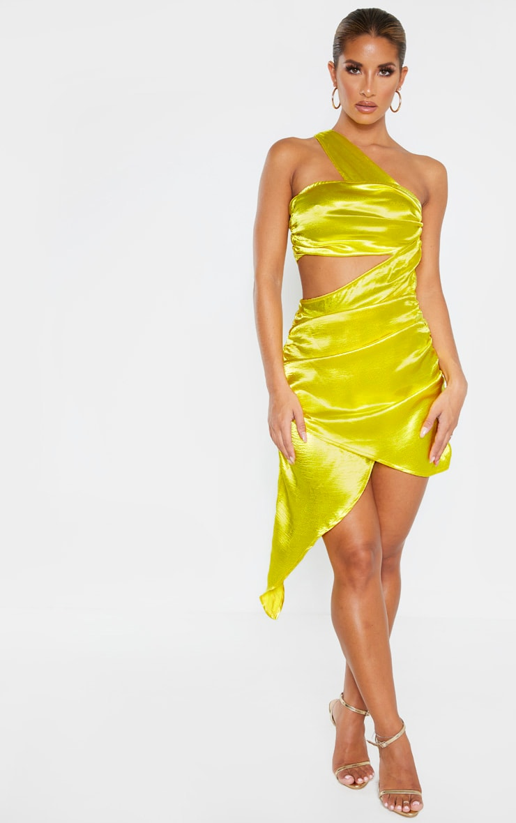 Yellow Satin Cut Out Ruched Asymmetric Bodycon Dress 3