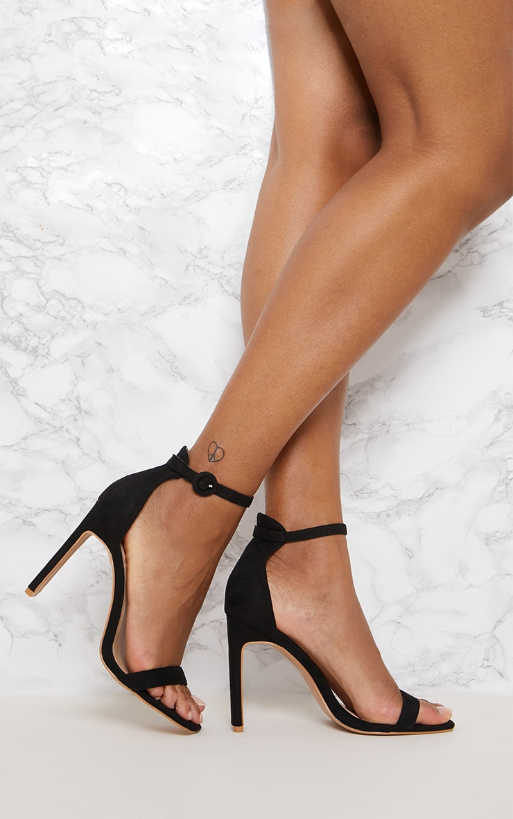Black Faux Suede Flat Barely There Heel