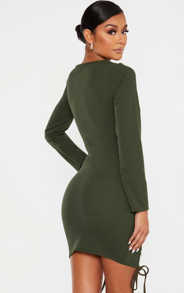 Khaki Long Sleeve Ruched Bodycon Dress 2
