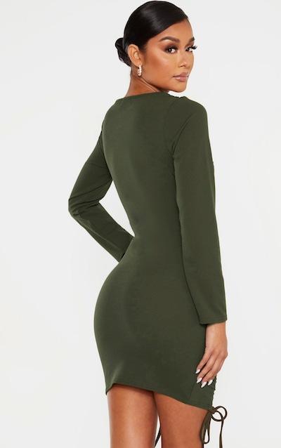 Khaki Long Sleeve Ruched Bodycon Dress