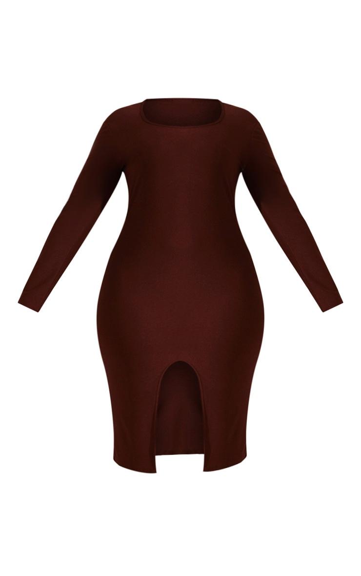 Plus Chocolate Brown Split Front Scoop Neck Midi Dress  3