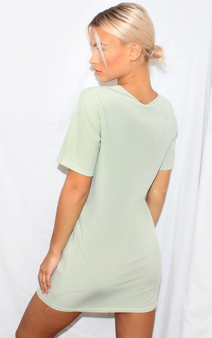 Sage Green Rib Short Sleeve T Shirt Dress 2