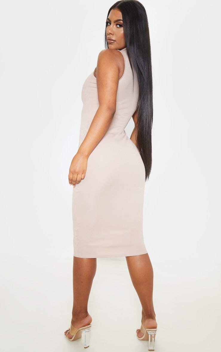 Stone High Neck Cut Out Midi Dress 2