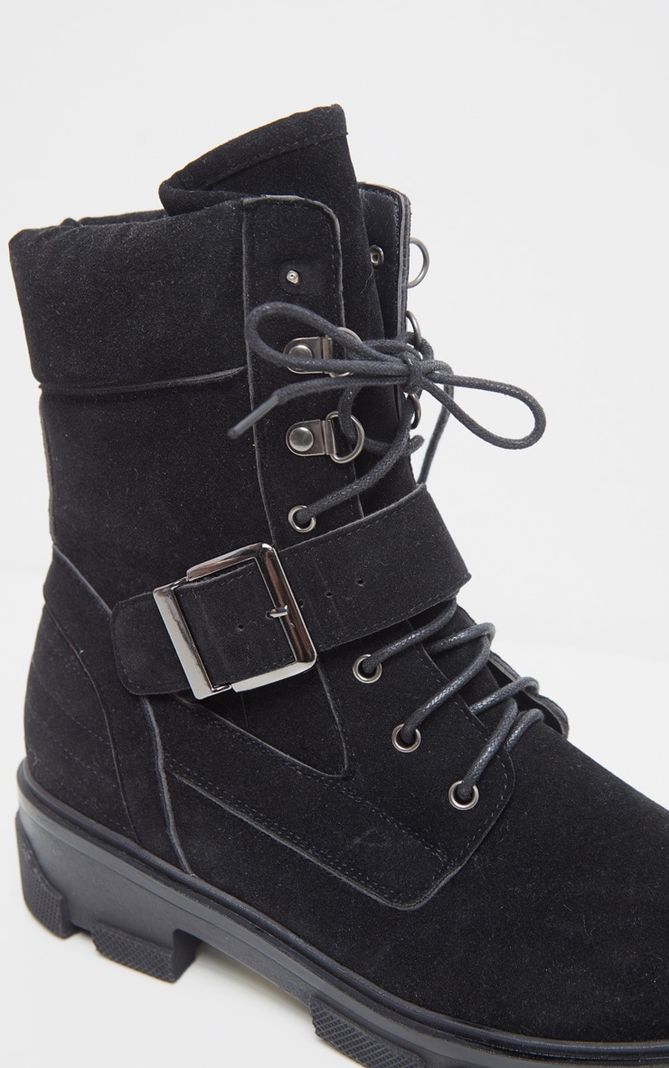 Black Lace Up Buckle Strap Ankle Boot 4