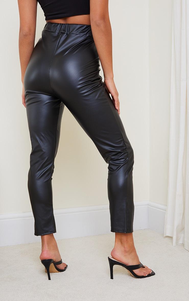 Petite Black Cropped Split Hem Pu Trouser 3