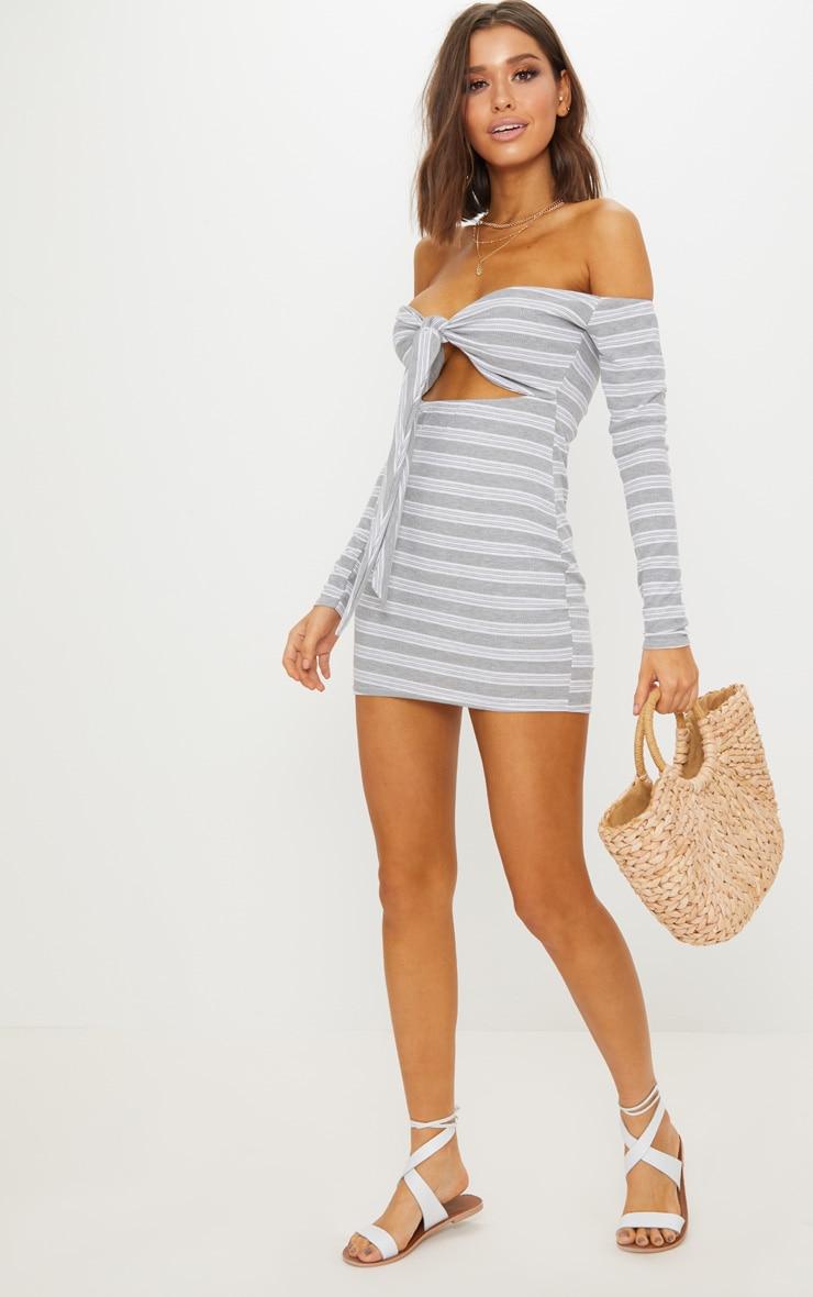 Grey Stripe Print Ribbed Bardot Tie Front Bodycon Dress 4