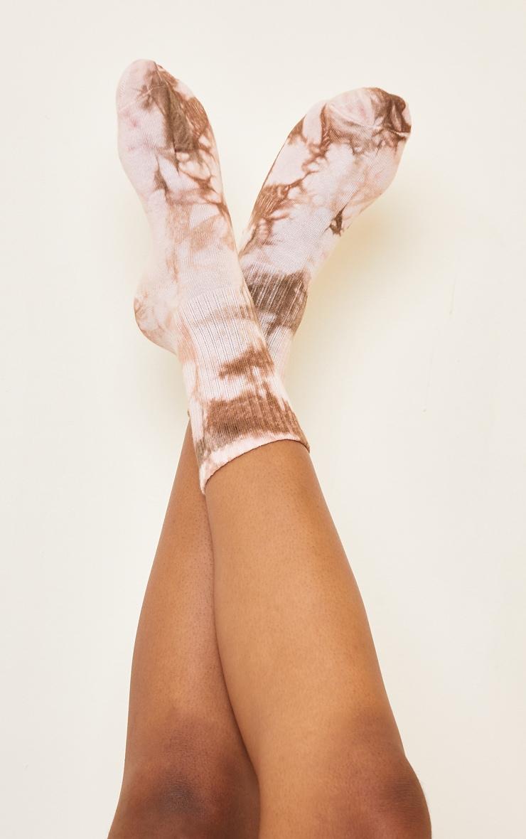 Tan Tie Dye Ribbed Socks 2