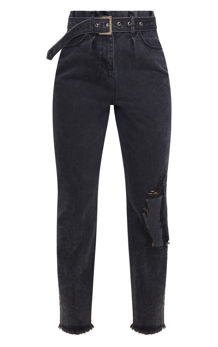 Washed Black Distressed Knee Ripped Jeans 5