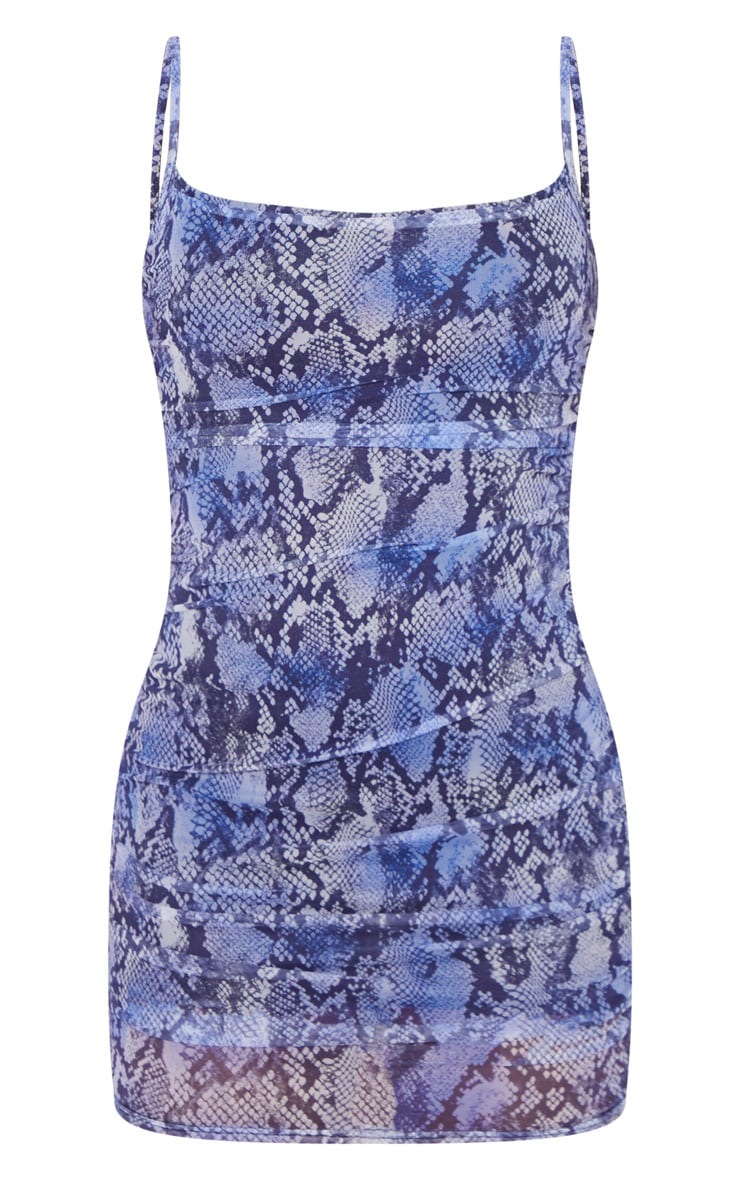 Purple Snake Print Mesh Ruched Strappy Bodycon Dress 3