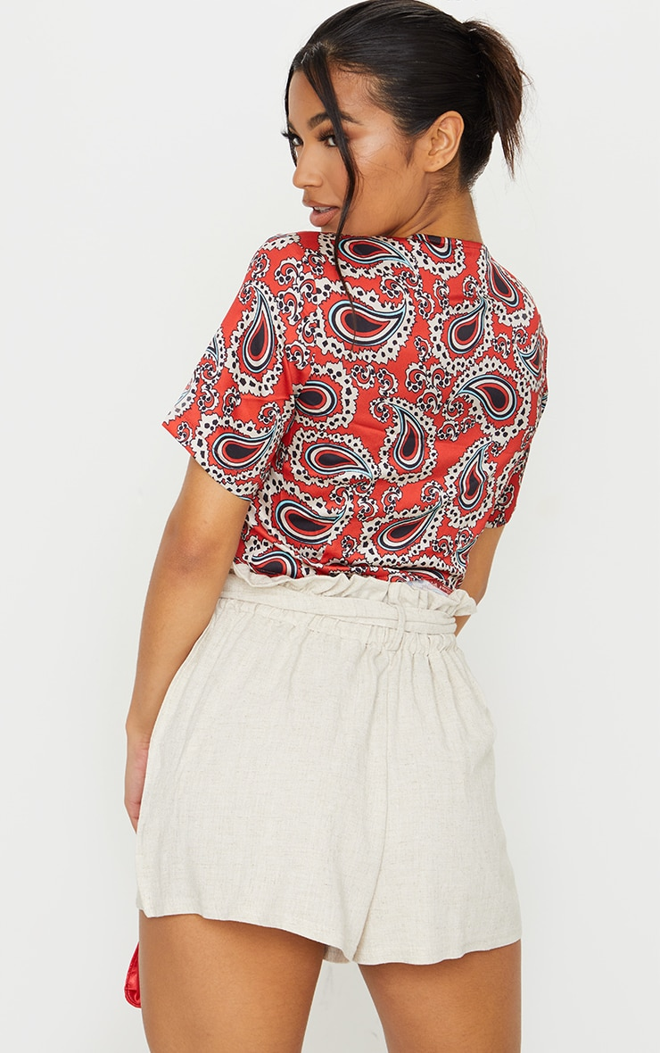 Red Paisley Twist Front Short Sleeve Top 2