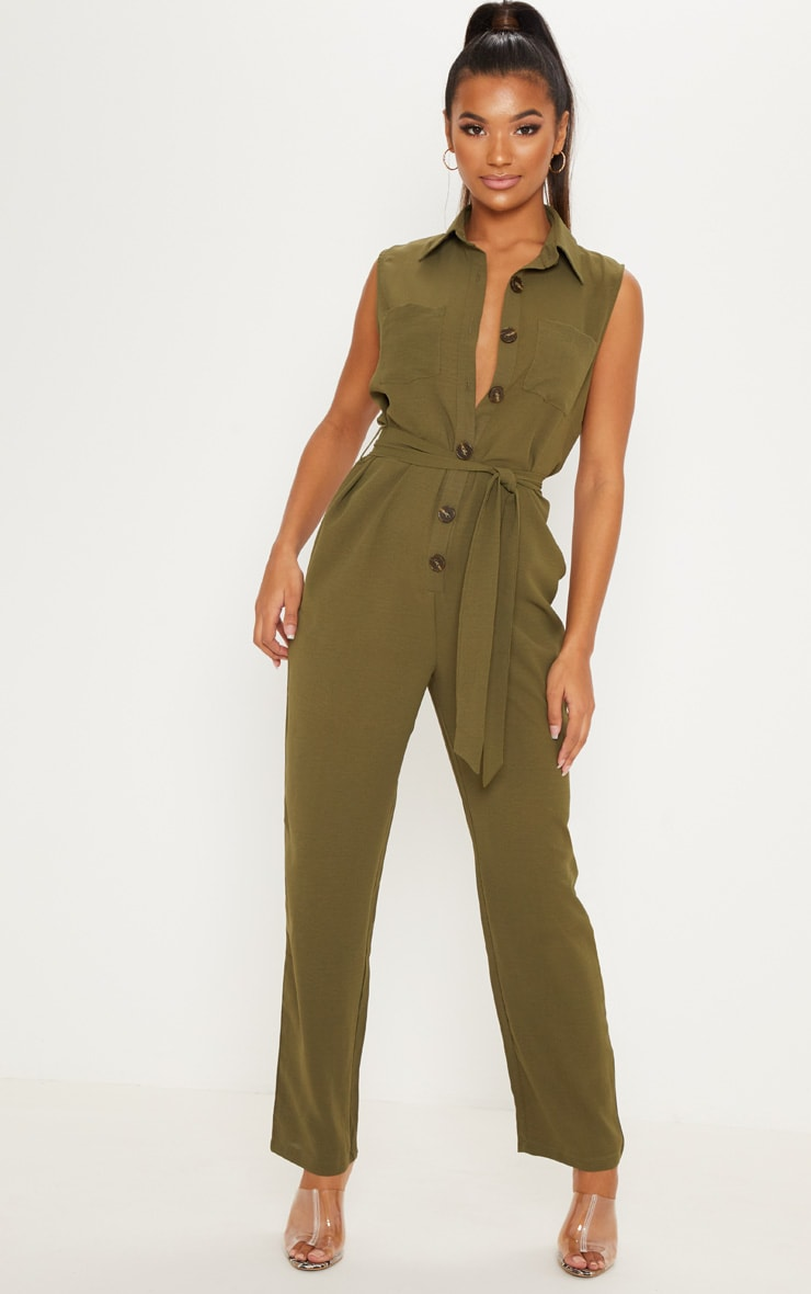 Khaki Tortoiseshell Button Sleeveless Jumpsuit 1