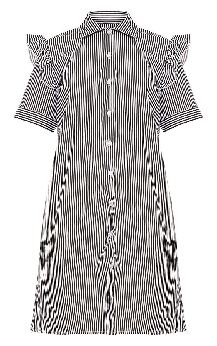 Wendayar Stripes Frill Short Sleeve Shirt Dress Black 3