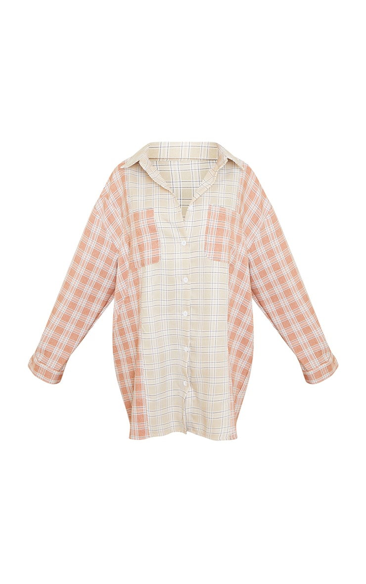 Petite Camel & Rust Mixed Checked Shirt Dress 5