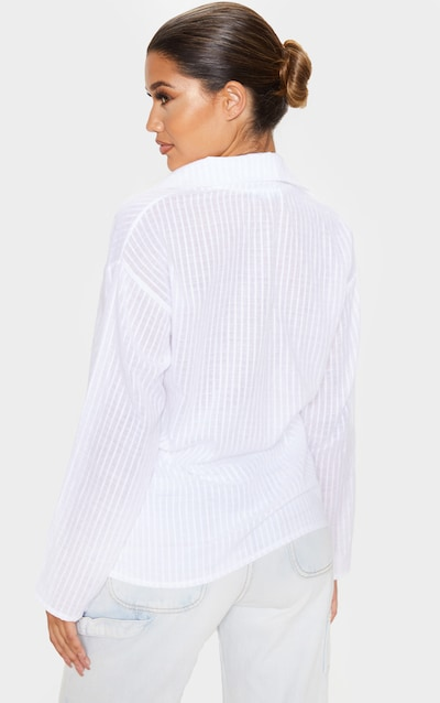 White Textured Woven Knot Front Shirt