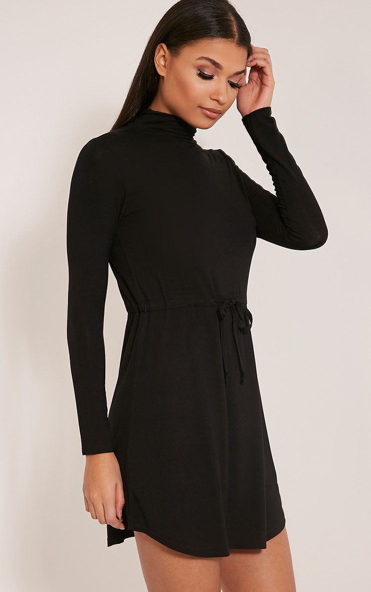 Dorathea Black Tie Waist Long Sleeve Jersey Dress 4