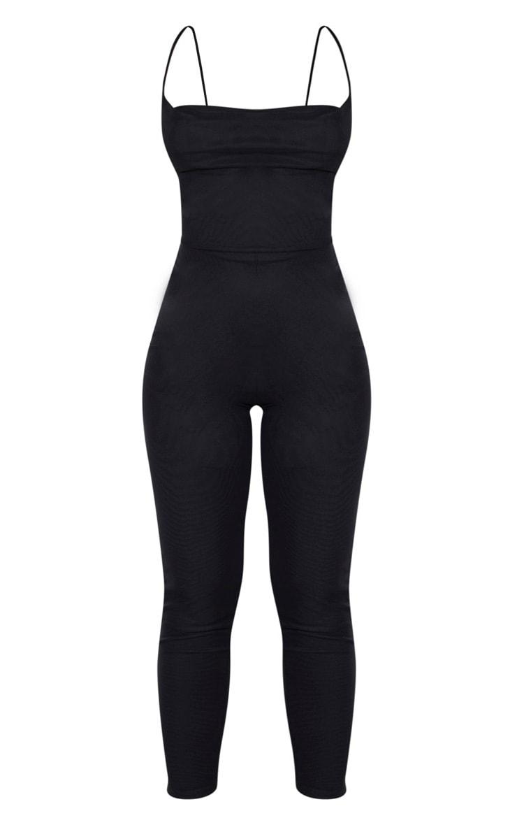 Black Cowl Neck Mesh Jumpsuit 3