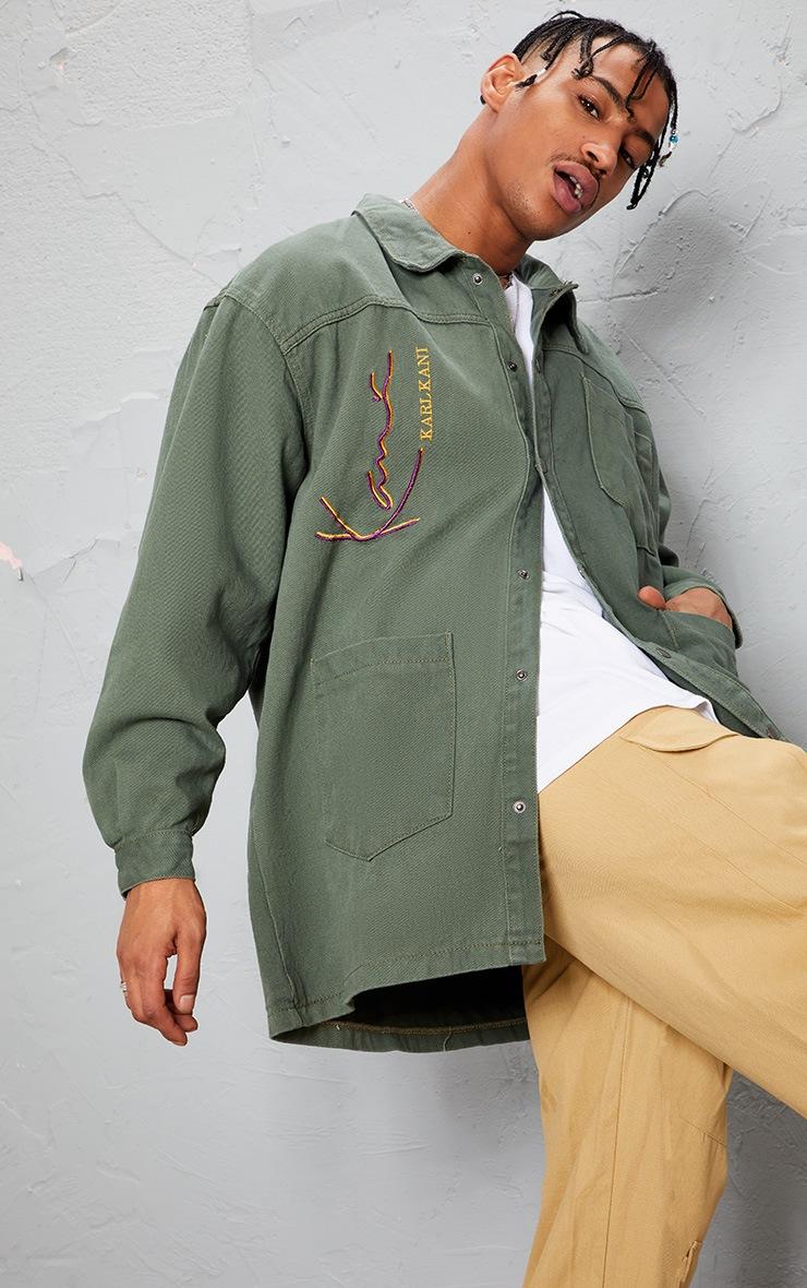 KARL KANI - Robe chemise en jean kaki oversize 8