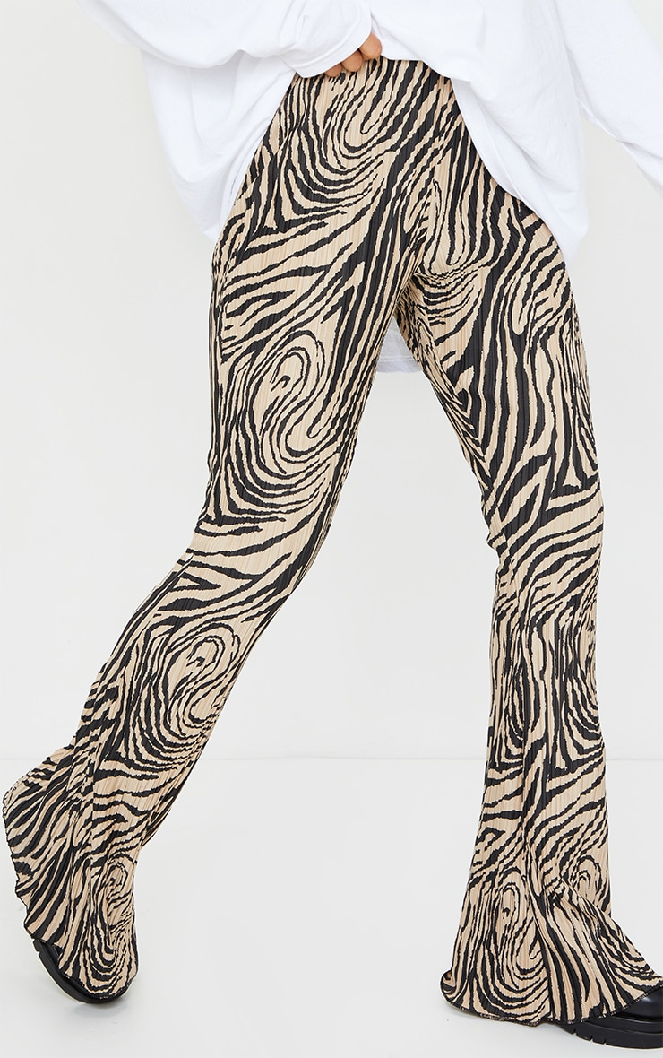 Stone Zebra Print Plisse Flared Trousers 2