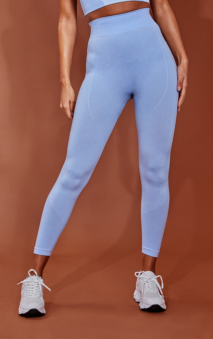 PRETTYLITTLETHING Blue Marl Contour Cropped Seamless Leggings 2