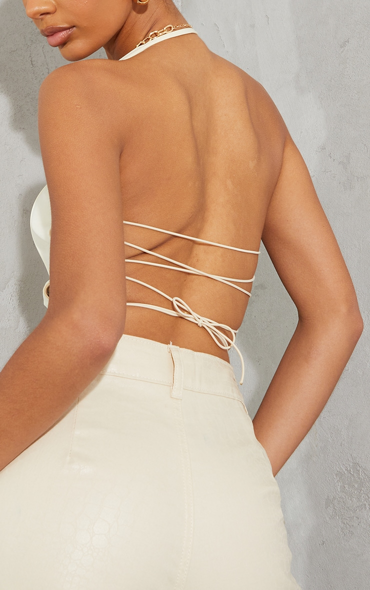 Cream Woven Corset Style Lace Up Back Halterneck Crop Top 4