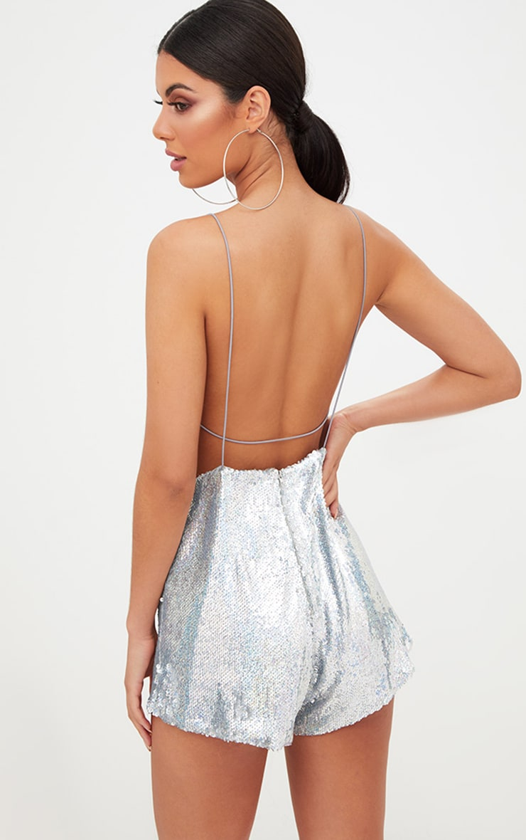 Silver Strappy Sequin Wrap Playsuit 2