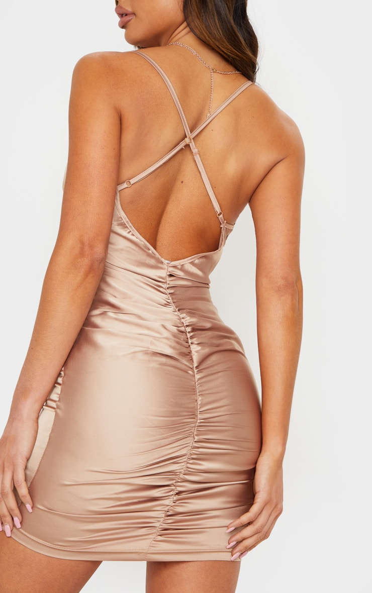 Nude Stretch Satin Cup Detail Bodycon Dress 5