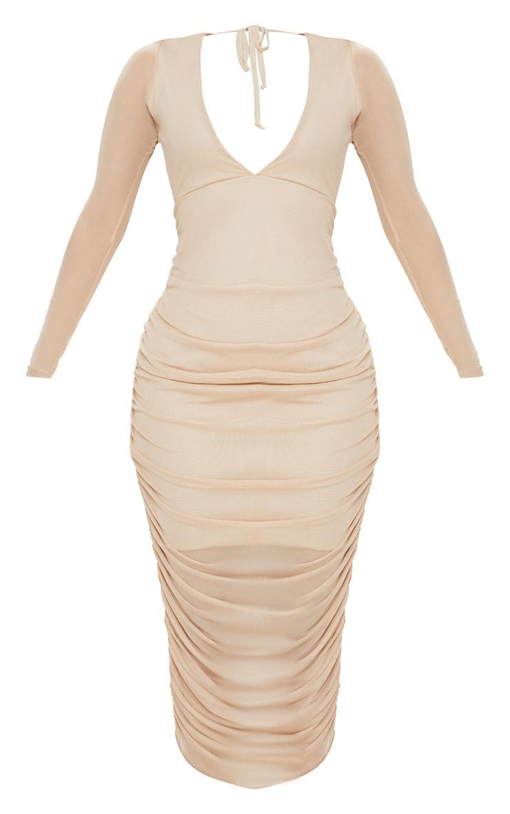 Shape Nude Ruched Mesh Longline Midi Dress 3