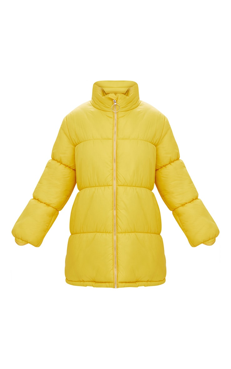 Yellow Ring Pull Longline Puffer Jacket 3