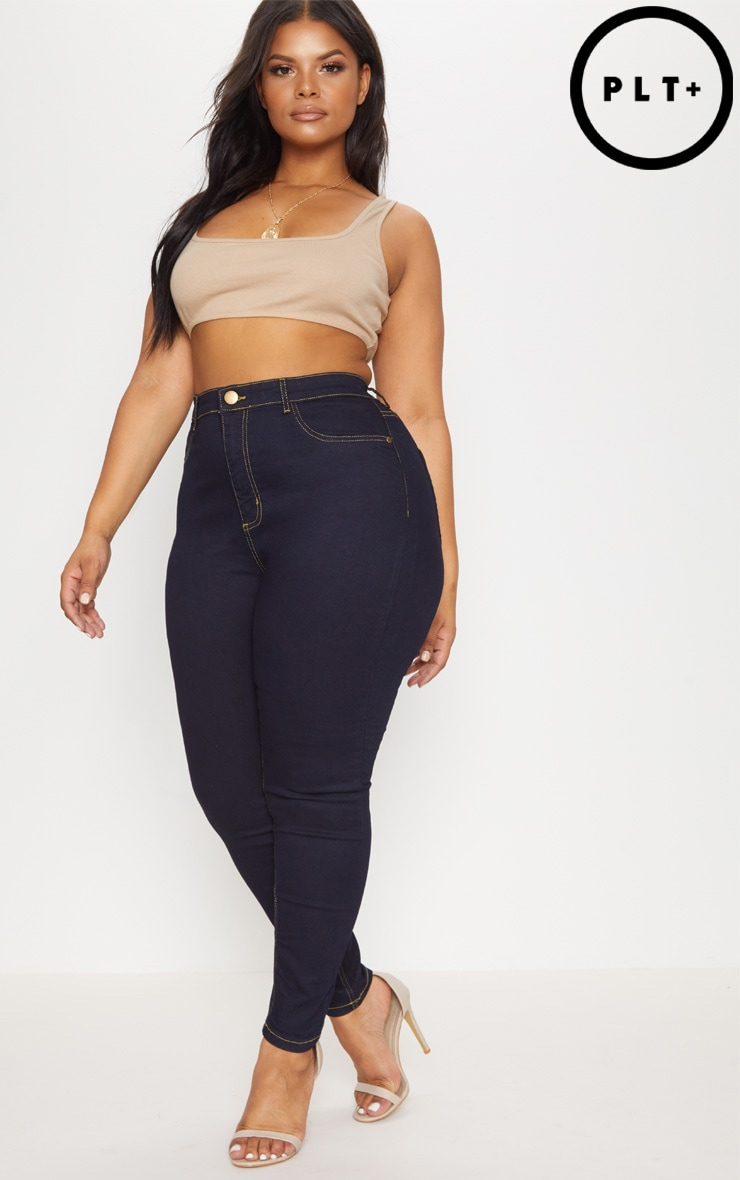 Plus Dark Blue High Rise Jeggings