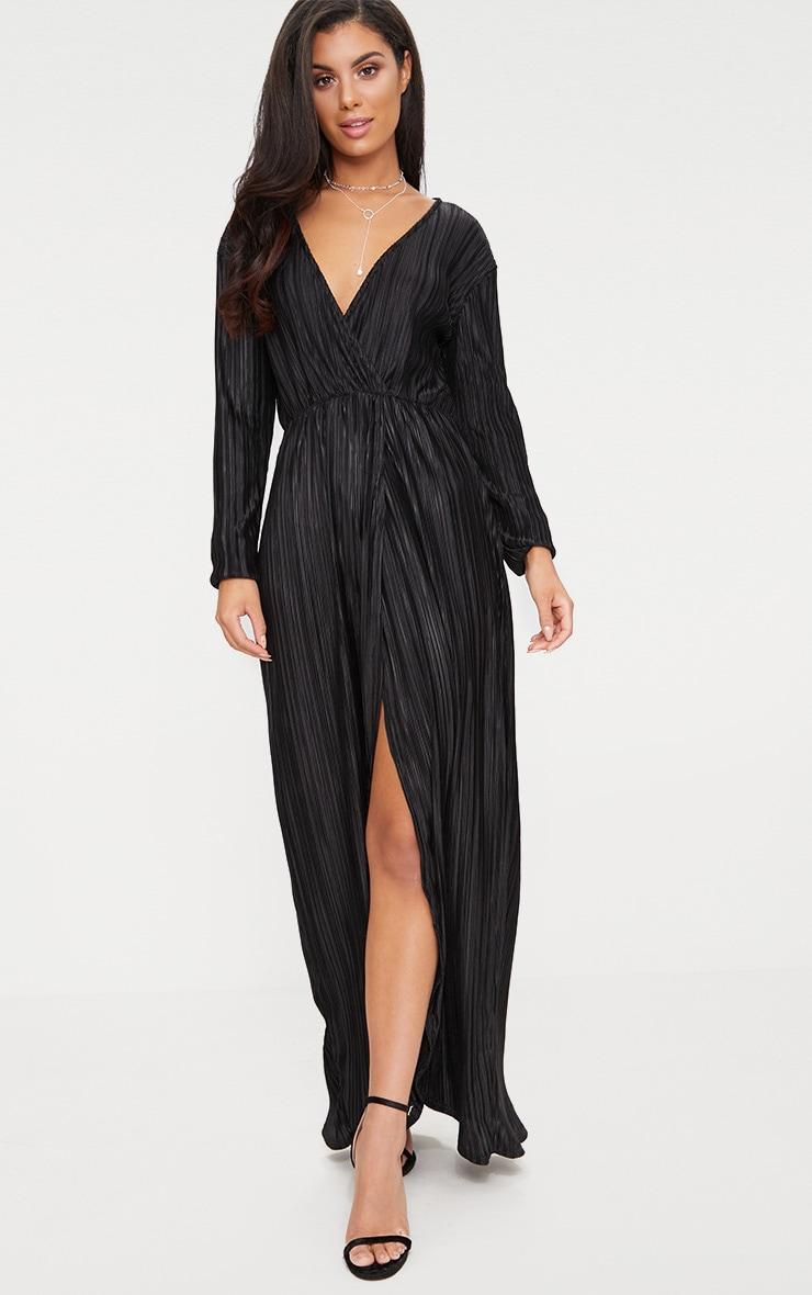 Black Pleated Wrap Front Long Sleeve Maxi Dress 1