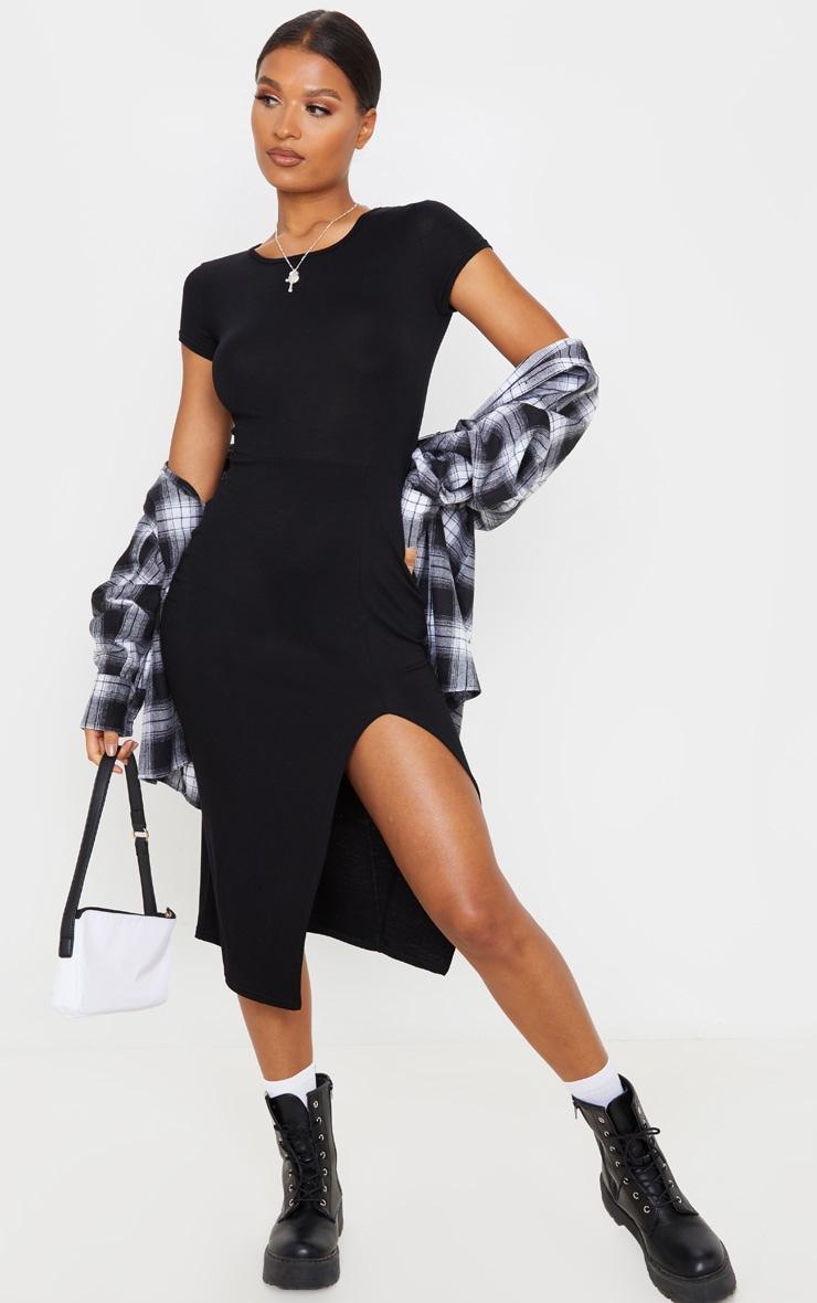 Black Crew Neck Short Sleeve Split Midi Dress 1