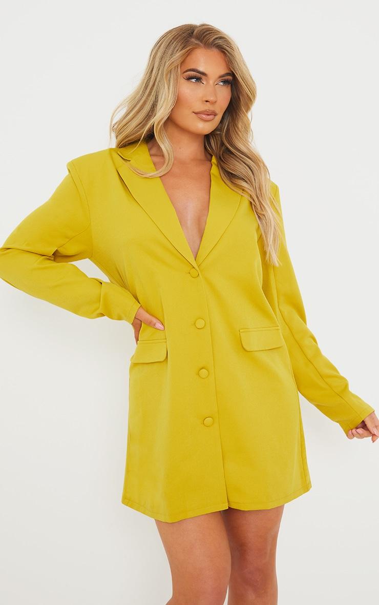 Chartreuse Long Sleeve Oversized Shoulder Pad Blazer Dress 5