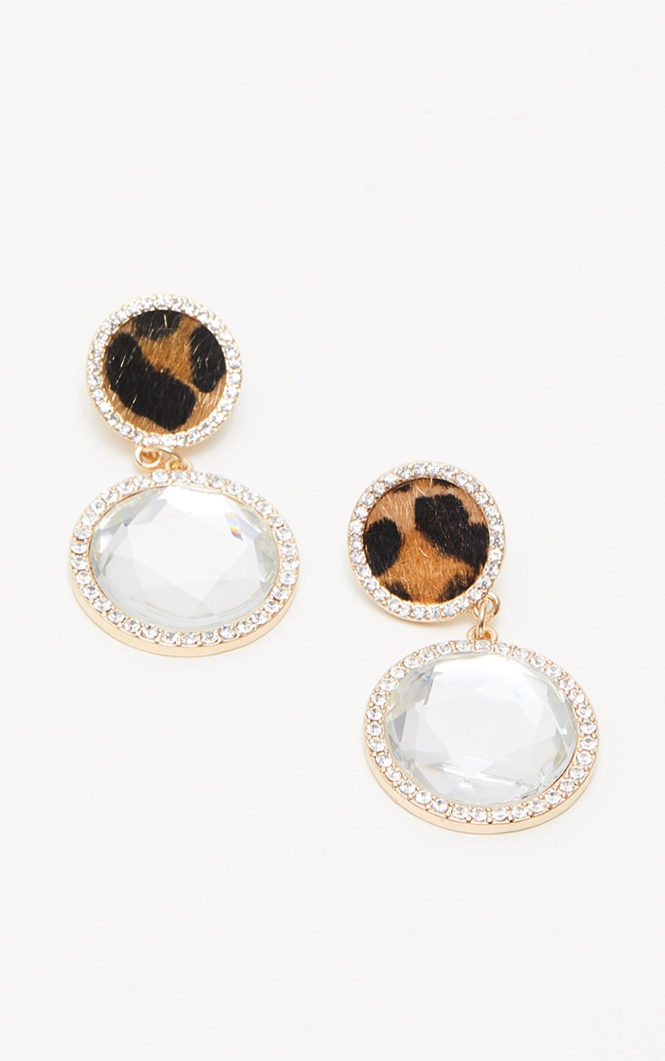 Leopard Diamante Statement Earrings 2