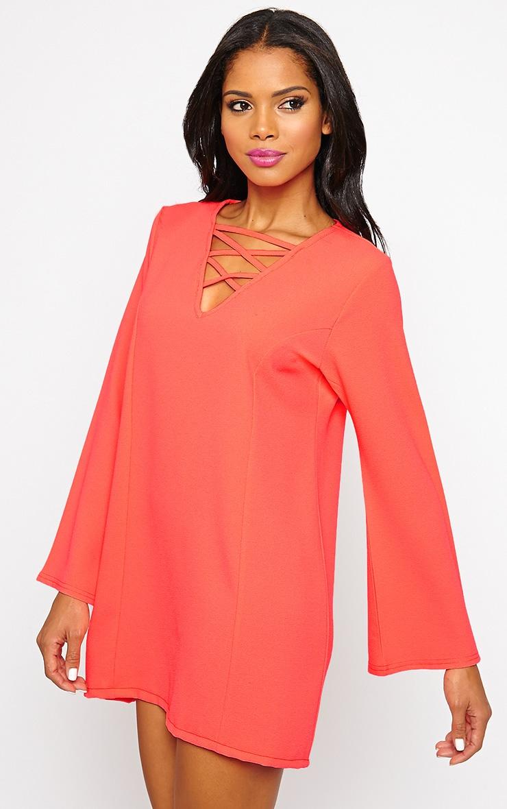Liz Neon Pink Cross Front Crepe Loose Fit Swing Dress 6