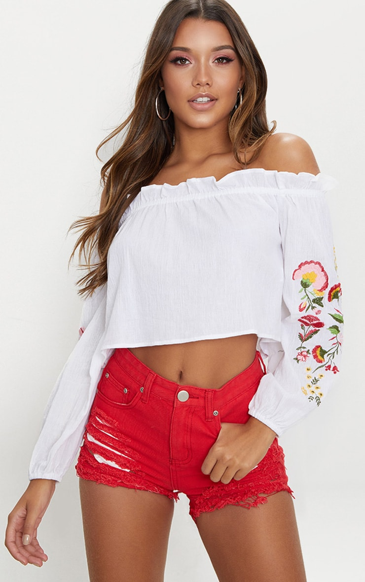 dedf7cbb63efc Whte Embroidered Cheesecloth Bardot Crop Top image 1