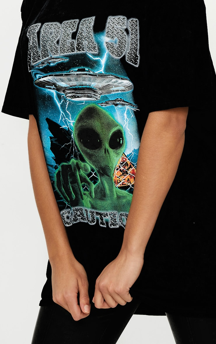 Black AREA 51 Oversized T Shirt 4