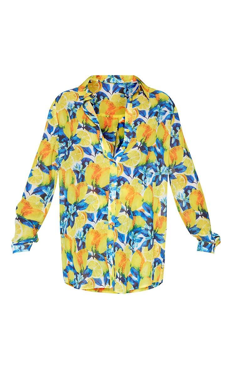 Yellow Lemon Print Beach Shirt 3
