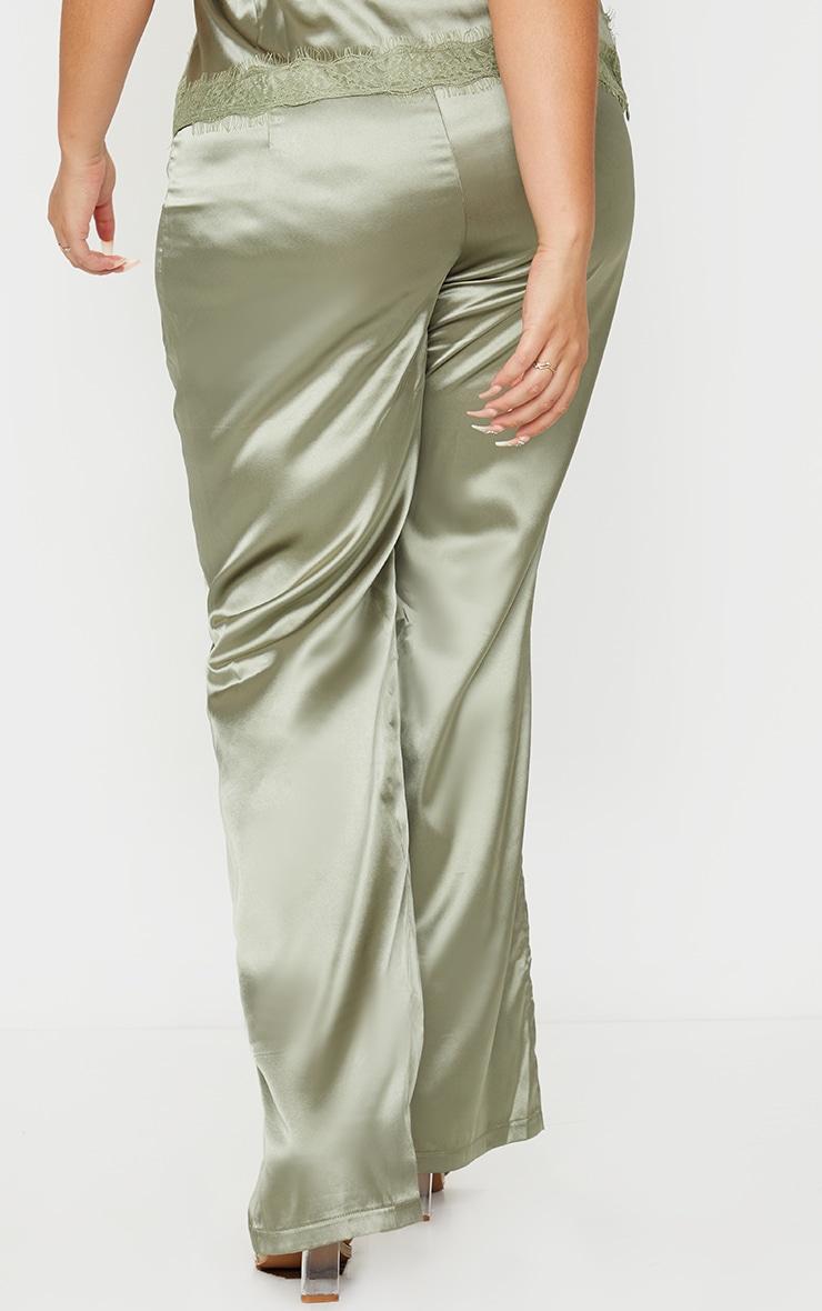 Plus Olive Satin Wide Leg Trousers 3
