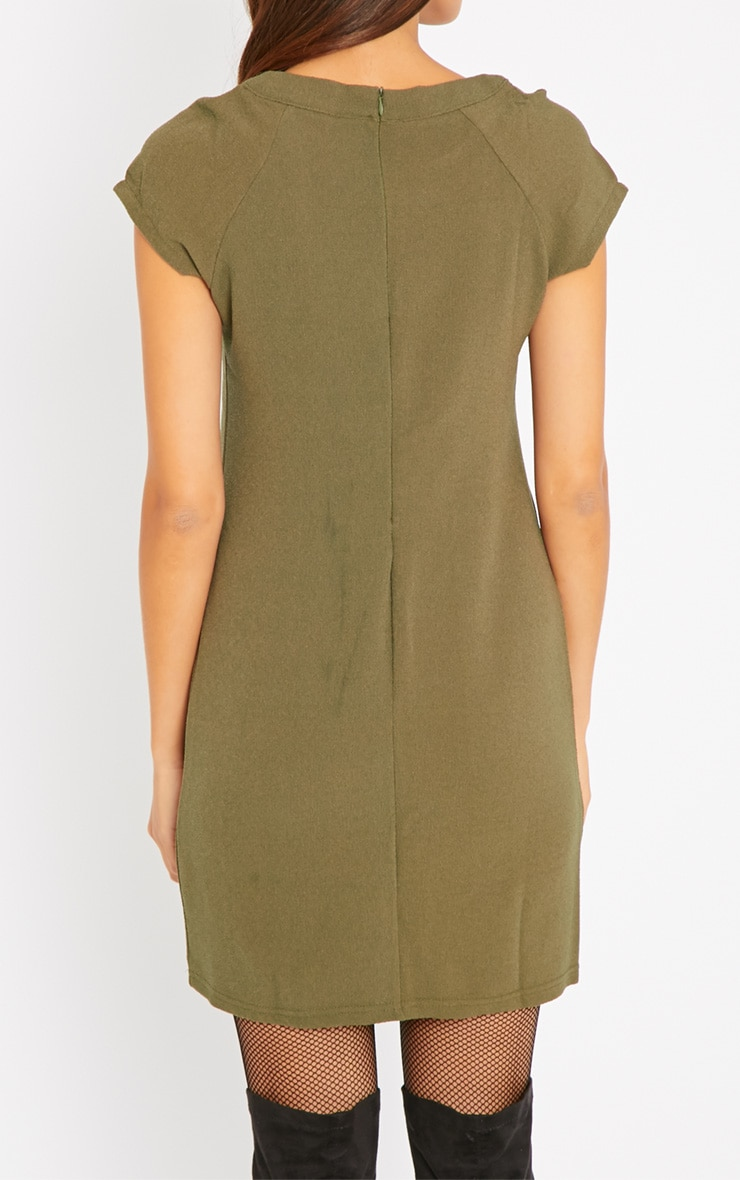 Hannah Khaki Waffle Shift Dress 2