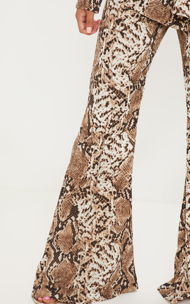 Petite Taupe Snake Print Flared Trousers 4
