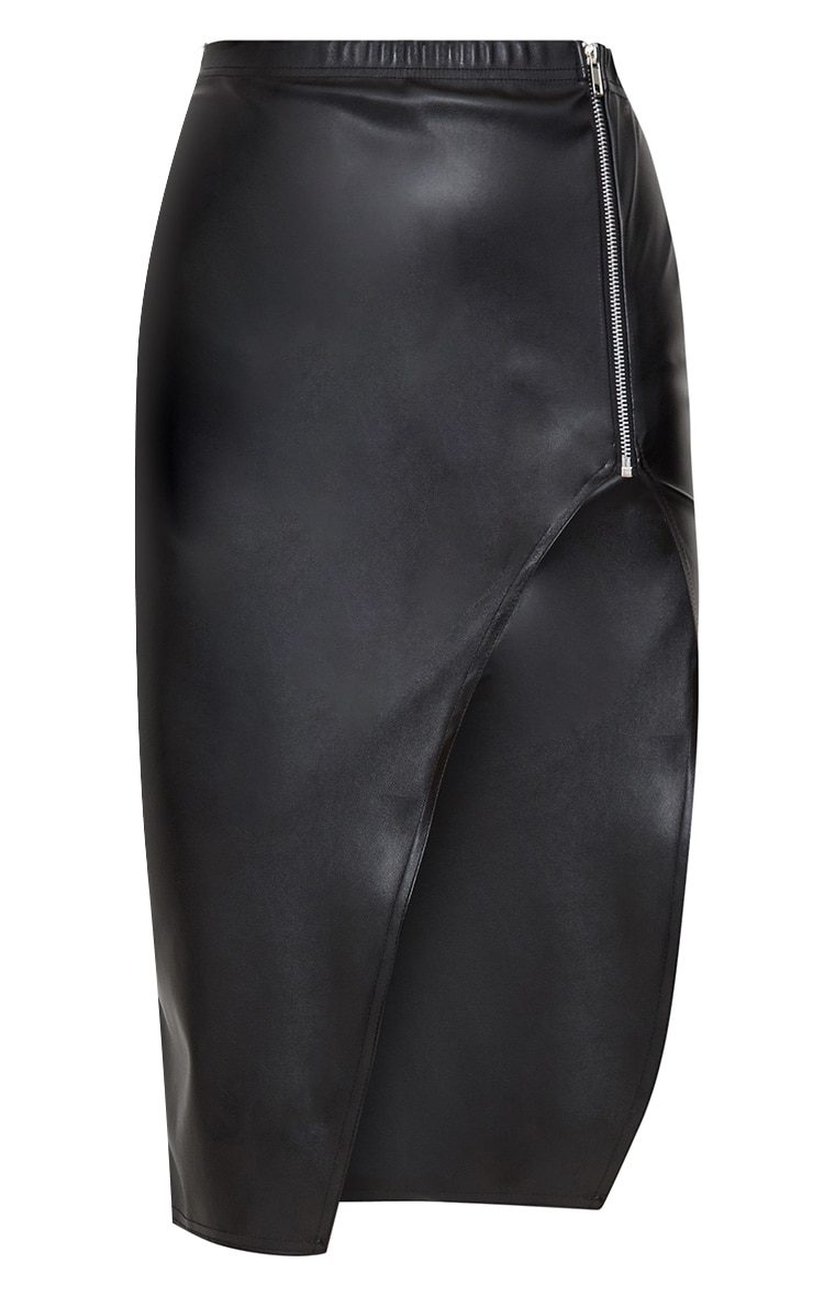 Black Faux Leather Extreme Split Skirt 3