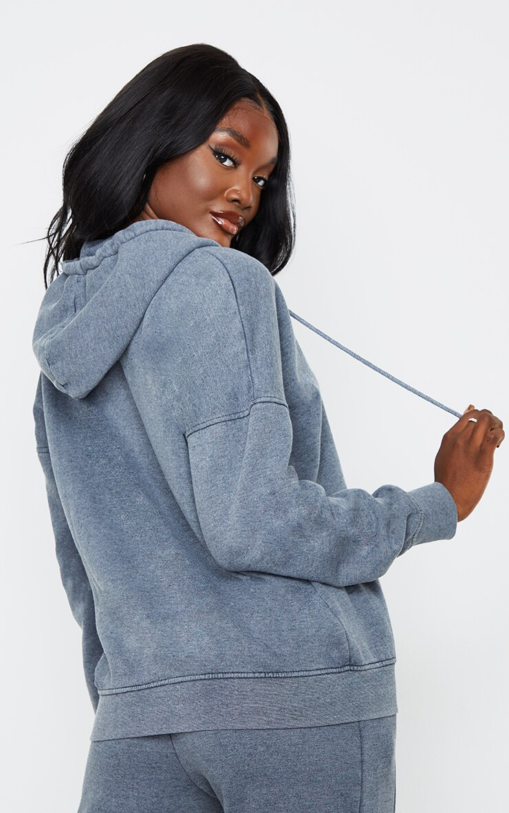 Tall Charcoal Double Zip Oversized Washed Hoodie 2