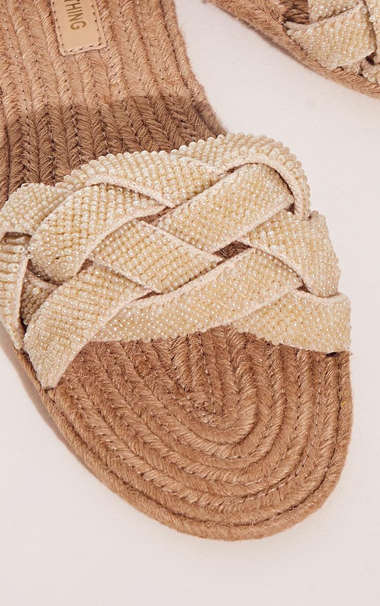 Natural Platted Beaded Raffia Sandals 4